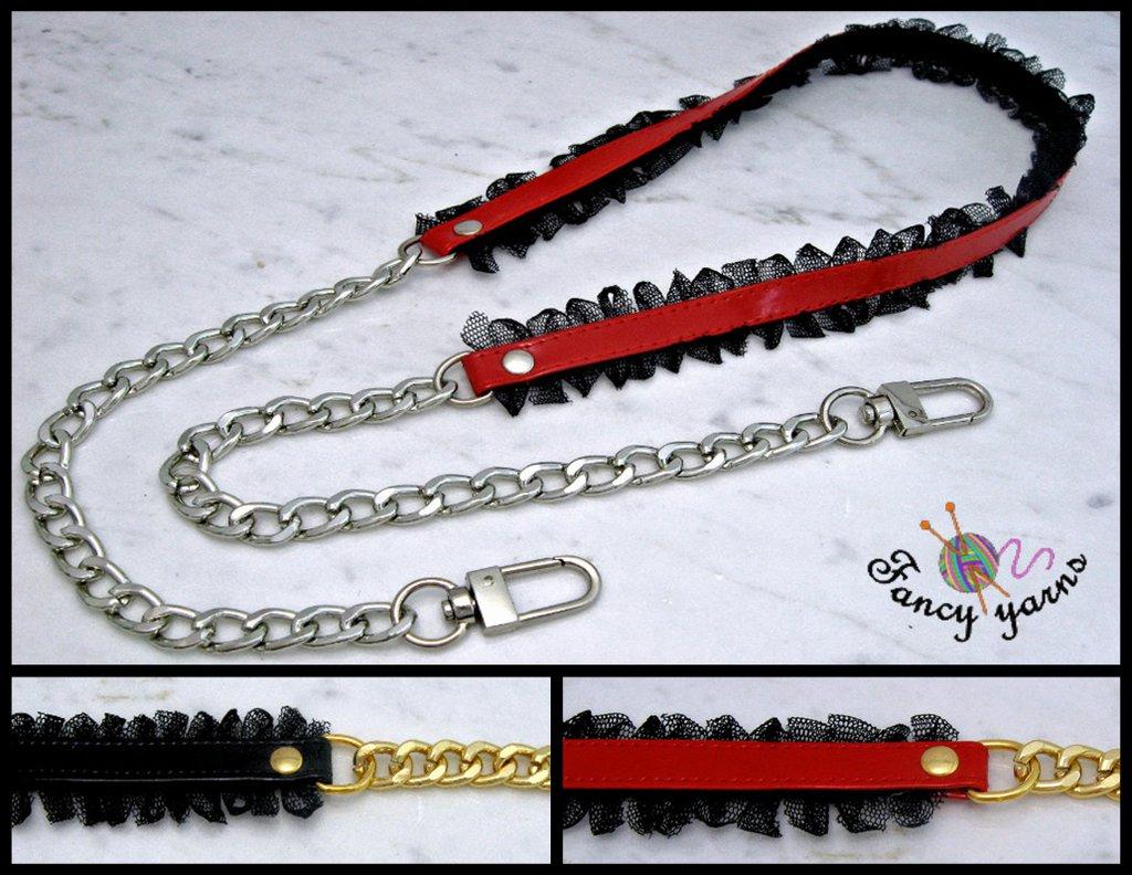 Tracolla per borsa lunga cm.100 - similpelle lucida impunturata con tulle, catena oro o argento, 4 varianti di colore a scelta