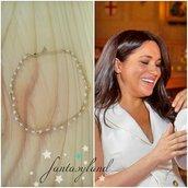 Meghan Markle Duchessa del Sussex Ispirato collana girocollo regalo pietra di luna oro