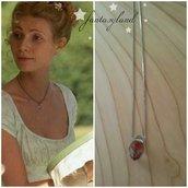 Emma Jane Austen Cristallo vetro Goccia Pietra Regency Georgiano Oro Collana regalo