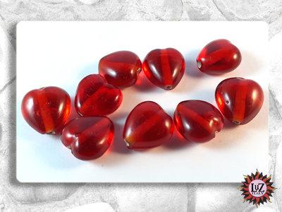 100 Perle vetro - colore Rosso - Cuore - 9 x 15 mm - Creazione Gioielli