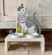 Porta ciotole per gatti dipinto a mano