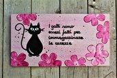 Targhetta in legno fiori rosa con gatto 13x25cm