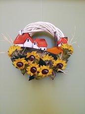 Ghirlanda fuoriporta corona estiva con girasoli