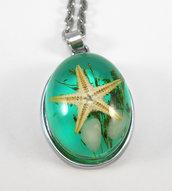 Collana cabochon resina stella marina - verde acqua