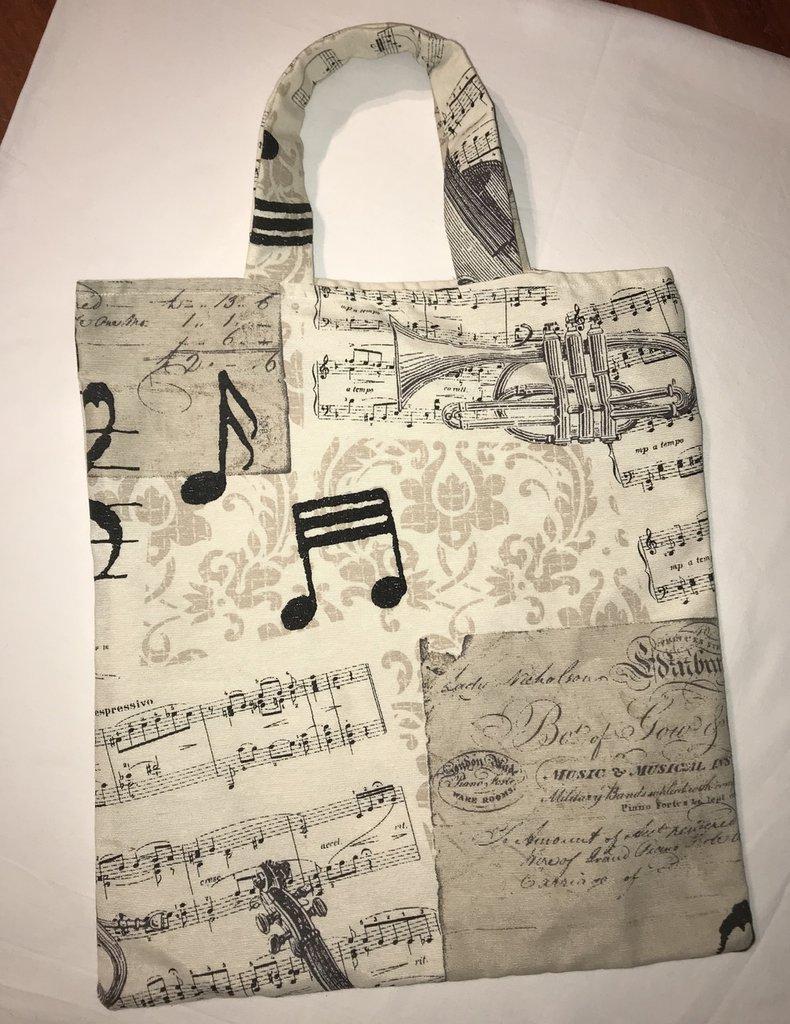 Shopper musicale in cotone