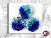 30 Perle Vetro Bicolore - Tondo Piatto  - 30 x 5 mm - Blu deciso - Azzurro