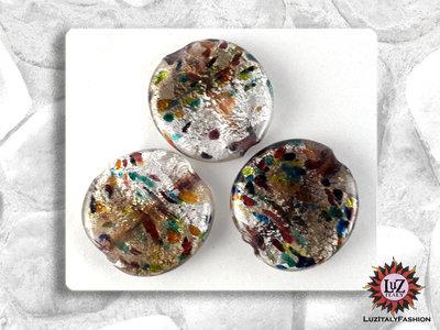 30 Perle Vetro Bicolore - Tondo Piatto - 30 x 5 mm - Grigio Fumo - Bianco Ghiacciato
