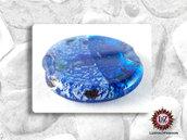 30 Perle Vetro Bicolore - Tondo Piatto - 30 x 5 mm - Turchese - Blu Light