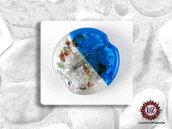 30 Perle Vetro Bicolore - Tondo Piatto - 30 x 5 mm - Azzurro e bianco ghiacciato