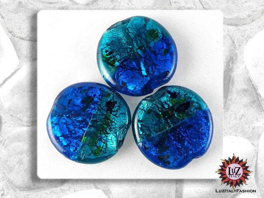 30 Perle Vetro Bicolore - Tondo Piatto - 30 x 5 mm - Azzurro - verde Petrolio