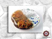 30 Perle Vetro Bicolore - Tondo Piatto - 30 x 5 mm - Ambra - Bianco Ghiacciato