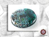 30 Perle Vetro Bicolore - Tondo Piatto - 30 x 5 mm - Petrolio- Verde Acqua