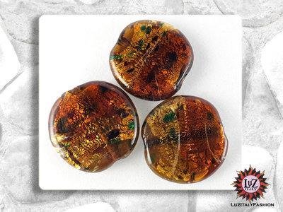 30 Perle Vetro Bicolore - Tondo Piatto - 30 x 5 mm - Ambra chiaro - Ambra Scuro