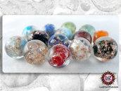 100 Perle Vetro Multicolore con avventurina - 12 mm Sfera