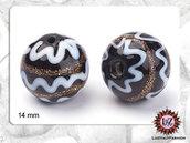 10 Perle Vetro Nere 14 mm- Tonda - sfera   (Lotto 10 pezzi)