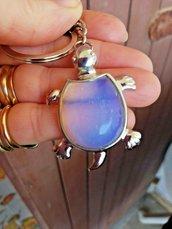 Portachiavi uomo donna con ciondolo portafortuna tartaruga in vera adularia pietra di luna naturale chakra cristalloterapia