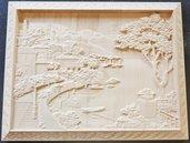 Paesaggio su legno
