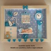 Quadretto nascita 13x18 decorato a mano in fimo
