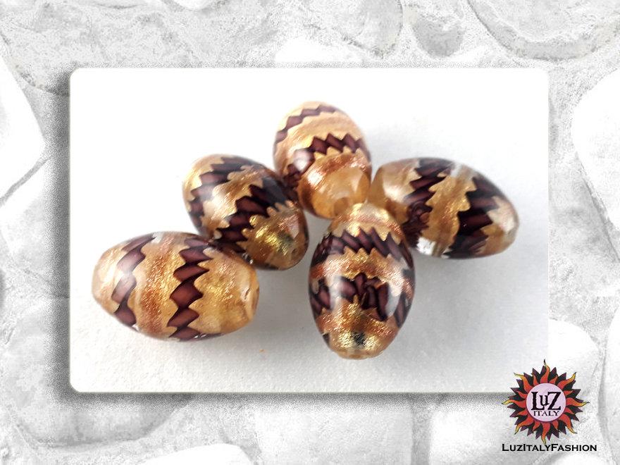 10  Perle di vetro Ovale 18 x 12 mm - Fatti A Mano - Viola