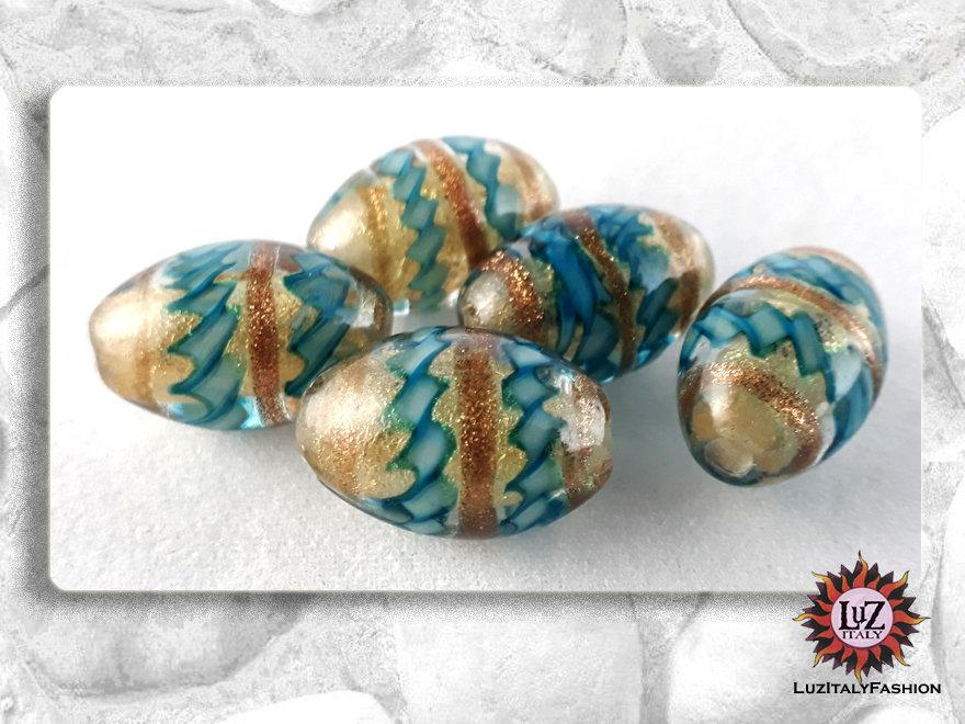 10  Perle di vetro Ovale 18 x 12 mm - Fatti A Mano - Turchese
