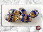 10  Perle di vetro Ovale 18 x 12 mm - Fatti A Mano - Blu