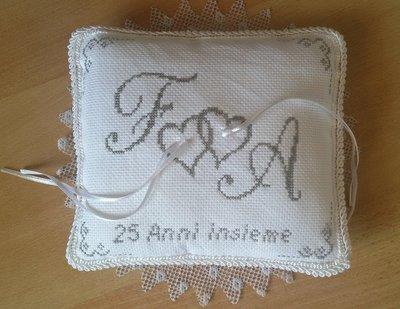 Inserzione riservata Cuscinetto portafedi anniversario nozze 25 anni