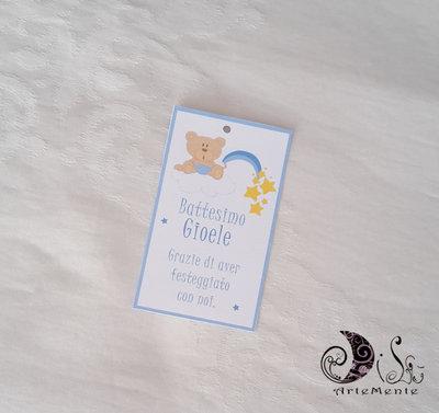 Etichetta segnaposto, tag ringraziamento personalizzabile orsetto arcobaleno