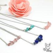 Collana con pietre colorate - collana lapislazzuli, quarzo, turchese e cristallo