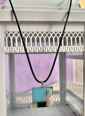 Collana/ciondolo con tessere in resina e MOSAICO di RAVENNA 1, azzurro e rosa-fatto a mano