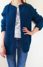Cardigan donna blue