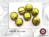 50 Perle Vetro  14 x 7 mm - Pastiglia Piatta tonda - Verde Acido