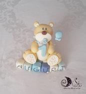 Cake topper orsetto primo compleanno su cubi auguri in scalaldi blu personalizzabile