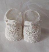 Sandaletti neonata bianchi 0-3 mesi.