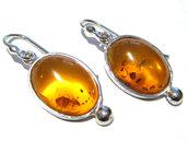 orecchini ambra fossile