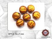 50 Perle Vetro  14 x 7 mm - Pastiglia Piatta tonda - Ambra Medio