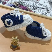 Scarpine  neonato uncinetto crochet tennis