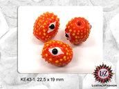 10 Perle in vetro arancione - ovale - Barile - 22,5 x 19 mm