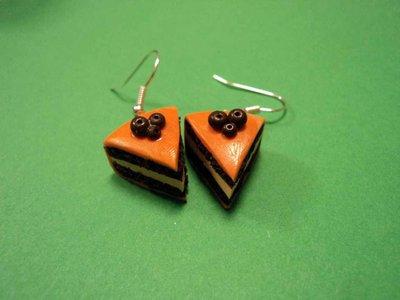 Orecchini fetta di torta arancia & cioccolato