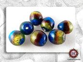 10 Perle in vetro lavorate a mano - sfera 18 x 16 mm - rotondo