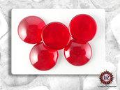 30 Cabochons Vetro 20 mm - Rosso - 20 mm diametro x 4 mm altezza