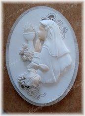 Stampo icona ovale bimba in preghiera in silicone per comunione