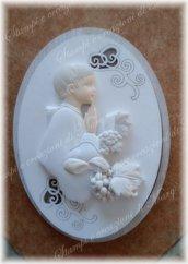 Stampo icona ovale bimbo in preghiera in silicone per comunione