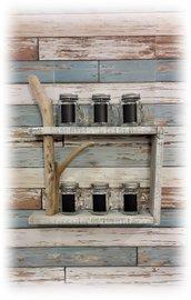 Porta spezie con legno di mare,rustico,accessorio casa al mare,per la cucina