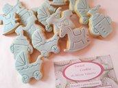 Biscotti singoli nascita evento confettata confetti biscotto pasta frolla goloso pasta di zucchero