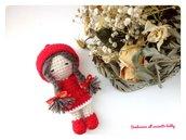 Bomboniera bimba battesimo, comunione, cresima, compleanno bambolina con cappuccetto rosso amigurumi.