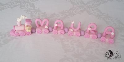 cake topper trenino rosa per bimba con orsetto battesimo, compleanno personalizzabile nome 5 lettere