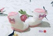 Stivaletti  scarpine crochet neonato bebè lana