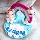 Cake Topper unicorno bimba arcobaleno fimo