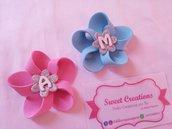 bomboniera nascita personalizzata calamita lettera fiore bimbo bimba rosa celeste confetti