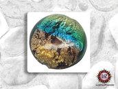 10 Pastiglie Vetro arcobaleno - 16 x 8 mm - tondo Piatto - per creazione gioielli